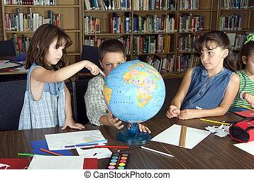 élémentaire, étudiants, école, étudier