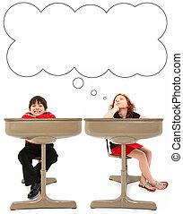élémentaire, étudiants, bureau
