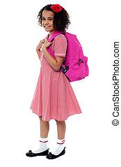 élémentaire, chevelure, eduquer fille, bouclé