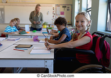 élémentaire, classe, écolière, école, fauteuil roulant,...