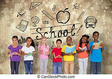 élémentaire, composite, livres, lecture, élèves, image