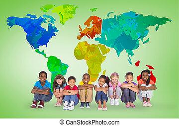 élémentaire, composite, sourire, élèves, image