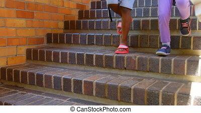 élémentaire, escalier, marche, école, schoolkids, bas, 4k