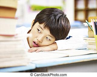 élémentaire, fatigué, asiatique, écolier
