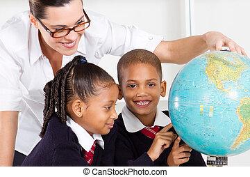 élémentaire, géographie, pupille, prof