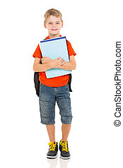 élémentaire, garçon, livres école, tenue