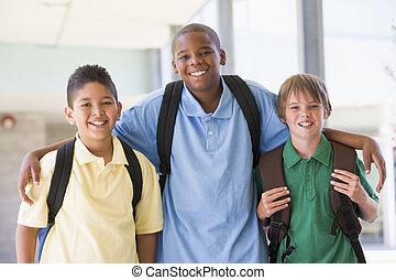 élémentaire, groupe, école, amis