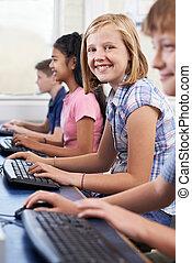 élémentaire, informatique, pupille, femme, classe
