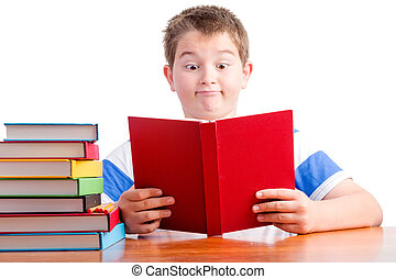 élémentaire, jeune, surpris, écolier