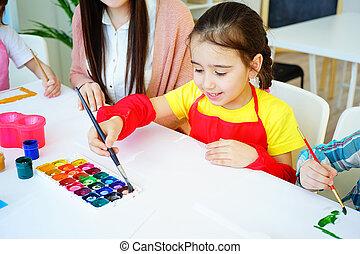 élémentaire, leçon, art, école