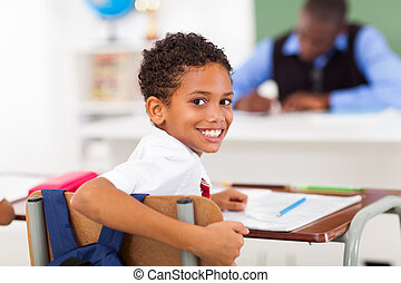 élémentaire, mignon, regarder, écolier