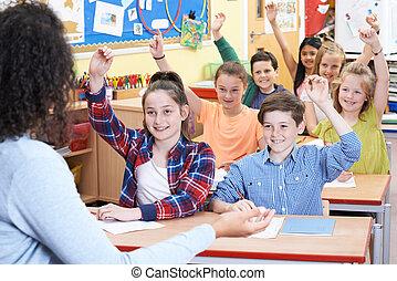 élémentaire, question réponse, élèves, classe