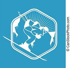 éléments, étiquettes, recours, vecteur, logo, emblèmes, ski, insignes