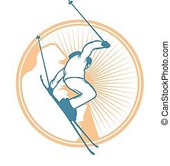 éléments, étiquettes, recours, vecteur, logo, emblèmes, ski...