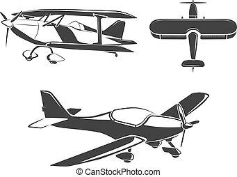 éléments, étiquettes, vecteur, avion, emblèmes, insignes