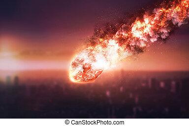 éléments, étoile, meublé, ceci, espace, image, puissant, astéroïde, énergie, nasa, rain., météore, lueur, comète, tomber, moving.