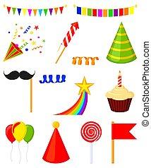 éléments, 14, coloré, ensemble, fête, dessin animé