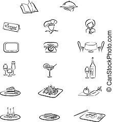 éléments, 17, restaurant, ensemble, café, ou