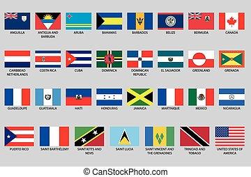 éléments, amérique, nord, ensemble, infographic, pays