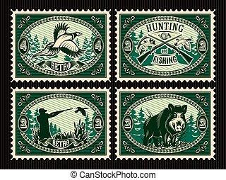 éléments, animaux chassant, timbres, forêt, ensemble, gabarit