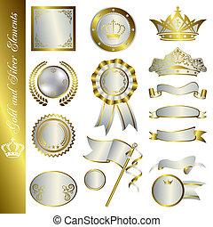éléments, argent, or
