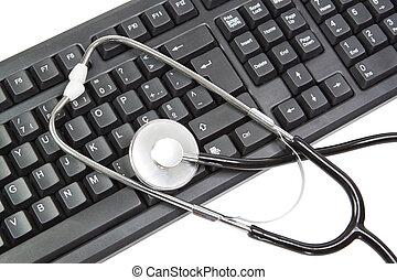 éléments, arrière-plan., pc, clavier, blanc, stethoscope.