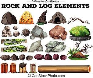 éléments, bûche, rocher