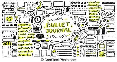 éléments, balle, ensemble, journal, vecteur