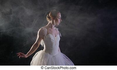 éléments, ballerine, ballet, lent, motion., classique, danse, tutu, moderne, fond foncé, fumée noire, lumière, gracieux, robe blanche, ou, sensuelles