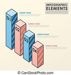 éléments, barre, coloré, diagramme, infographic, gabarit