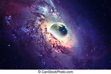 éléments, beauté, univers, meublé, espace, hole., nasa, noir, galaxie