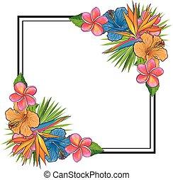 éléments, bouquet, coins, feuilles, space., exotique, forme, carrée, paume, copie, fleurs