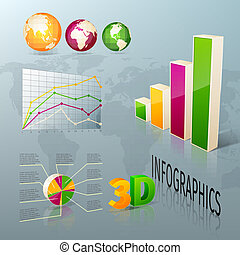 éléments, business, conception abstraite, infographics, 3d