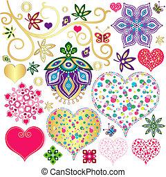 éléments, cœurs, ensemble, coloré, conception