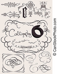 éléments, calligraphic, décoration, vecteur, conception, page, set: