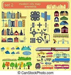 éléments, carte, moderne, ville