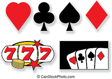 éléments, casino, vecteur, conception, cartes, jouer