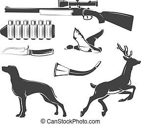 éléments, chasse, club, vendange, étiquettes, vecteur