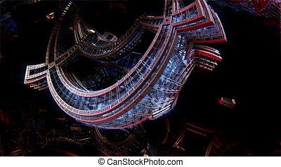 éléments, city., espace, métal, avenir, bateau, fractal, 3d