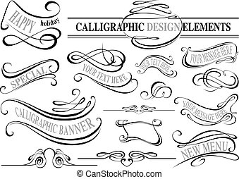 éléments, collection, calligraphic