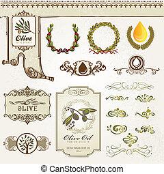 éléments, collection, olive