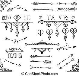 éléments, collection., tribal, main, boho, monochrome, dessiné