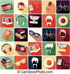 éléments, collection, vecteur, hipster, illustration, retro