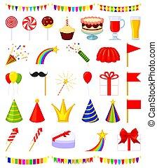éléments, coloré, 35, ensemble, fête, dessin animé