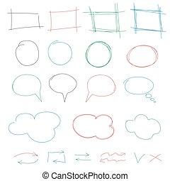 éléments, coloré, collection., flèches, nuages, main, cadres, vecteur, conception, isolé, dessiné, bulles, blanc