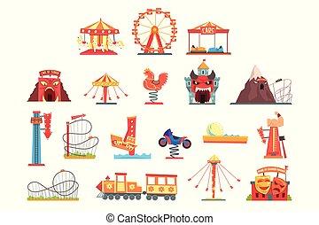 éléments, coloré, ensemble, parc, attraction, vecteur, illustrations, funfair, dessin animé, amusement