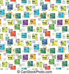 éléments, coloré, icônes, modèle, seamless, chimique, clair