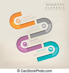 éléments, coloré, résumé, papier, moderne, infographic