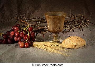 éléments, communion, table