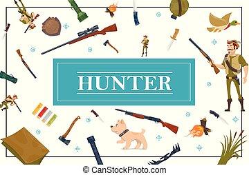éléments, concept, plat, chasse